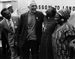 Abdul MInty, TRevor Huddleston, Desmond Tutu and Adelaide Tambo, Nelson Mandela Freedom March 1988